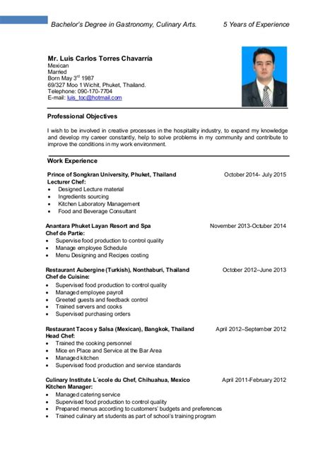 resume format for ojt culinary students resume luis torres culinary