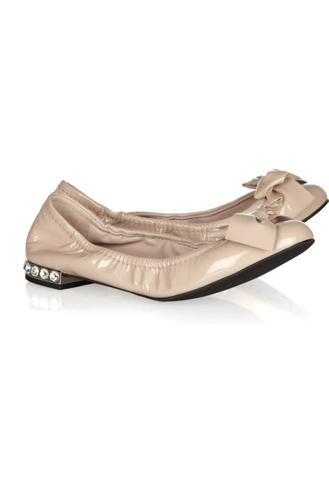 Flat Miu Miu miu miu swarovski crystalembellished patentleather ballet flats in pink blush lyst