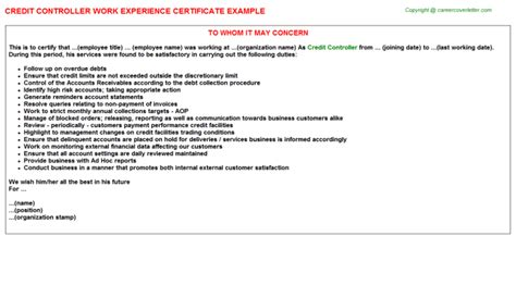 Credit Controller Application Letter Hotel Controller Palace Macau China Work Experience Certificates