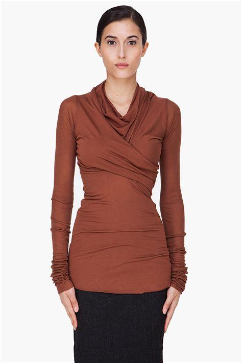 draped top rick owens lilies brown angora wool draped top in brown lyst