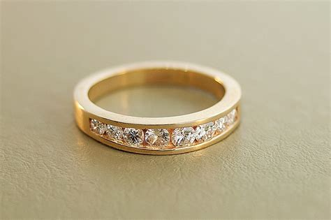 Wedding Bands Thick by Yellow Gold Thick Wedding Band With Channel Set Diamonds