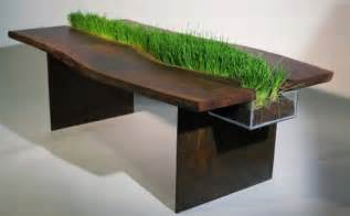 wooden table with planter integration iroonie