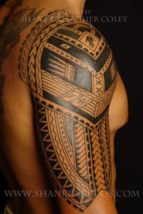 samoan back tattoo designs shane tattoos polynesian sleeve in progress