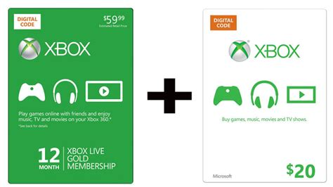 Xbox 360 Gift Card - buy a year of live gold get a 20 xbox gift card