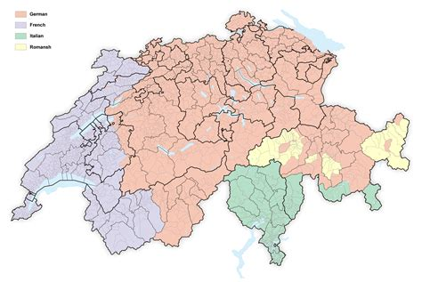 switzerland map languages languages in switzerland map images