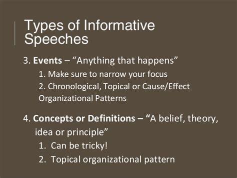 pattern of organization for speech informative speaking