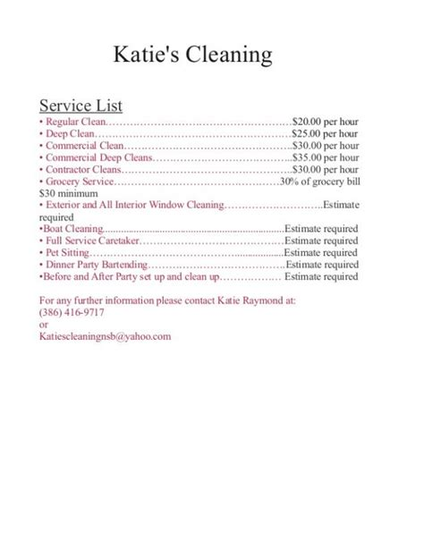 cleaning price list template cleaning services price list template template business