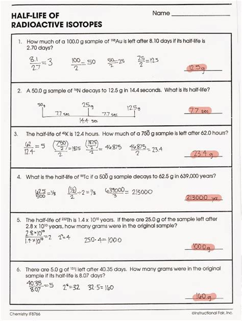 Nuclear Decay Worksheet by Nuclear Decay Worksheet Worksheets