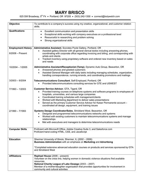 work history resume format chronological resume exle a chronological resume