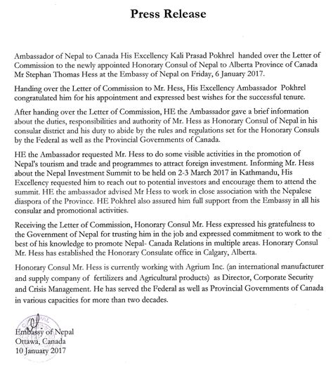 Visa Release Letter Press Release Issued By The Embassy Of Nepal Ottawa On