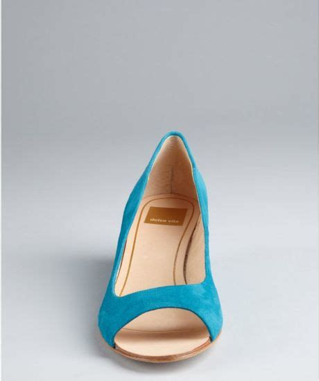dolce vita teal suede illa open toe mini wedges in blue
