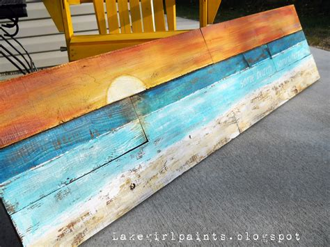one simple country girl project 2012 my home lake girl paints sunset beach art from fence boards