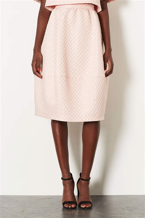 topshop jacquard midi skirt in pink pale pink lyst