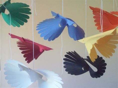 Birds With Paper - paper birdsseven primary flying paper birds by lorenzkraft