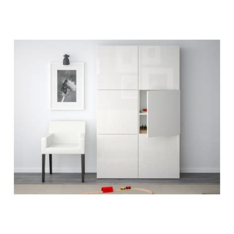 ikea besta white best 197 storage combination with doors white selsviken high gloss white 120x40x192 cm