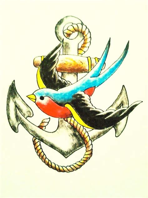 swallow and anchor tattoo designs colored flying bird and anchor design
