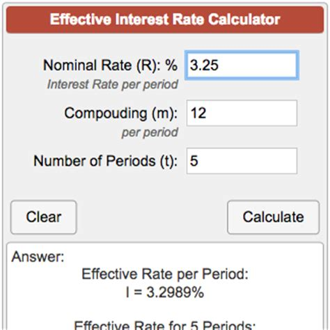calculator rate effective interest rate calculator
