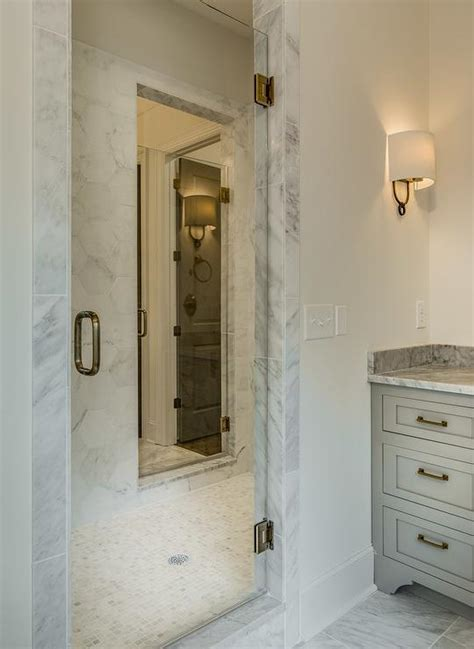 bathroom with 2 entrances shared walk in shower with 2 doors transitional bathroom