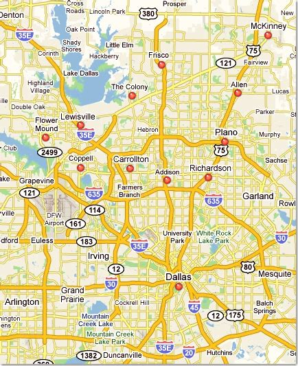map of dallas texas and suburbs contact us dent bros paintless dent repair in mckinney tx