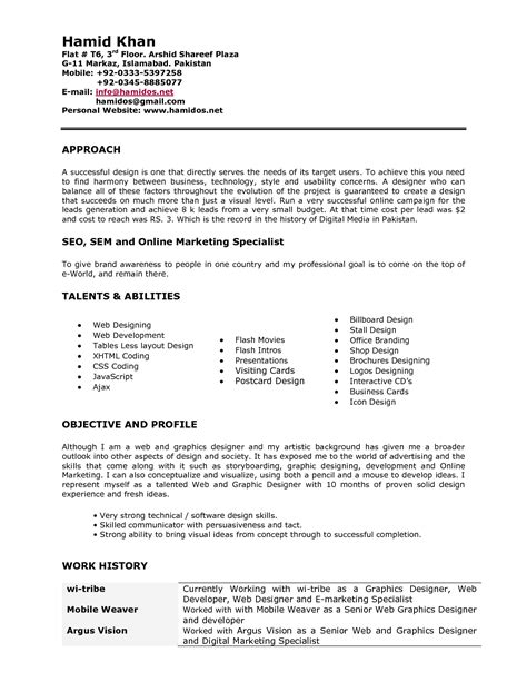 resume format for graphic designer fresher sle resume for web designer fresher resume ideas