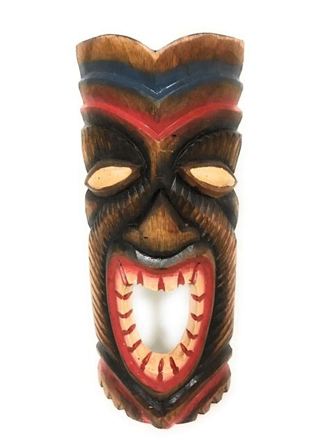 Tiki L by Carved Tiki Mask 12 Quot Happy Tiki Hawaii Decor Ebay
