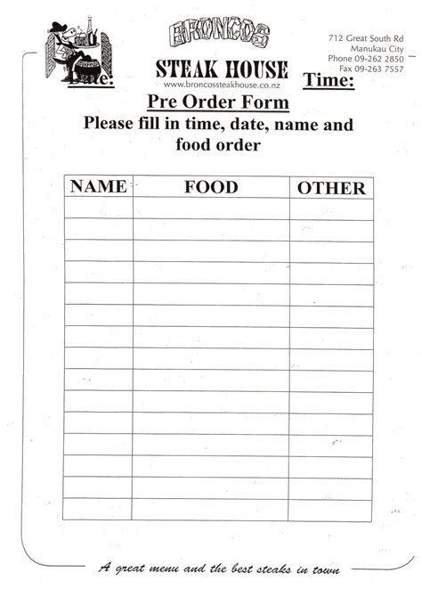 food pre order form template food pre order form template gallery template design ideas