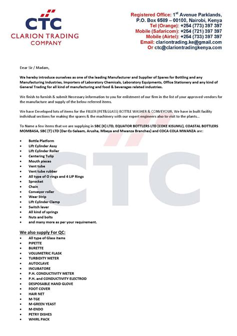 introduction letter for trading company clarion introduction letter 2014 by clarion trading