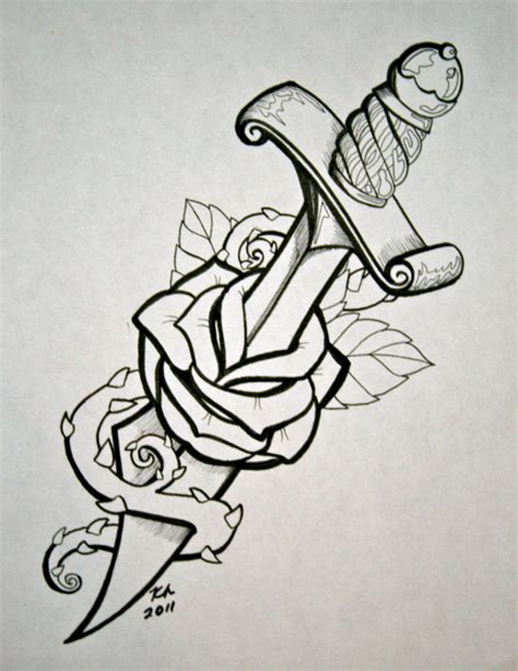dagger with rose by knezak on deviantart