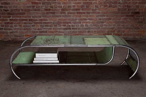repurposed sheet metal coffee table recycled material
