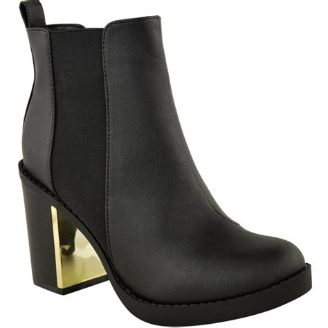 sally black block heel with gold detail ankle boots