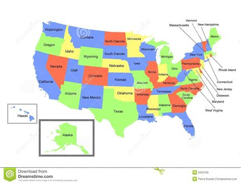 united states map including alaska and hawaii map of the united states royalty free stock photo image