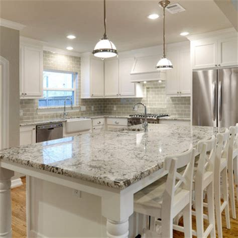 White Kitchen Cabinets Gray Granite Countertops by White Granite Countertops And Glass Subway Tile Backsplash But With Grey Cabinets
