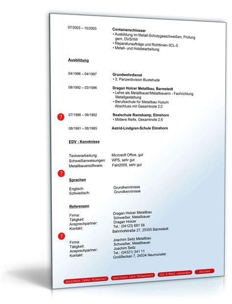 Lebenslauf Muster Zum Downloaden by Lebenslauf Schwei 223 Er Muster Zum