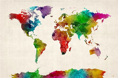The World In Watercolor by Watercolor Map Of The World Map By Michael Tompsett