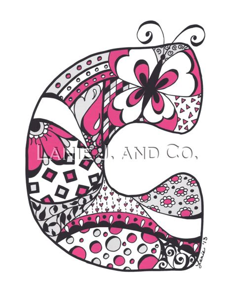 doodle c items similar to letter c 8 x 10 print pink