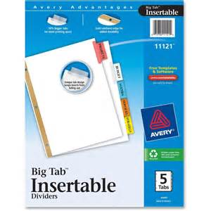 avery tab inserts template avery worksaver big insertable tab index dividers
