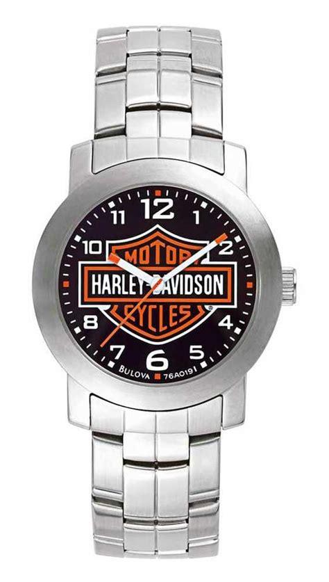 Harley Davidson Bulova Blk White harley davidson s bulova bar shield wrist