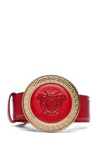 versace oversized belt in red fwrd