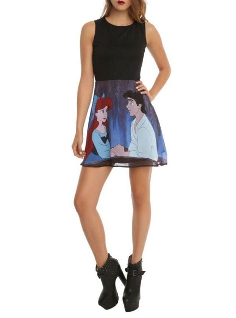 Mini Dress Disnie m disney ariel and eric boat the mermaid flare stained glass mini dress