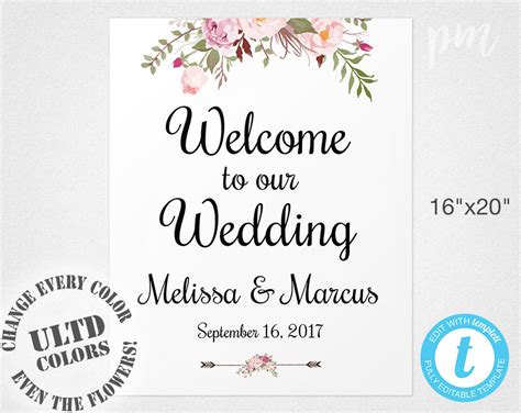 Welcome Wedding Sign Template Wedding Welcome Sign Welcome Welcome To The Wedding Of Template