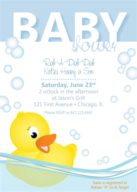 Duck Baby Shower Invitation Templates 7 best images of free printable invitations duck baby