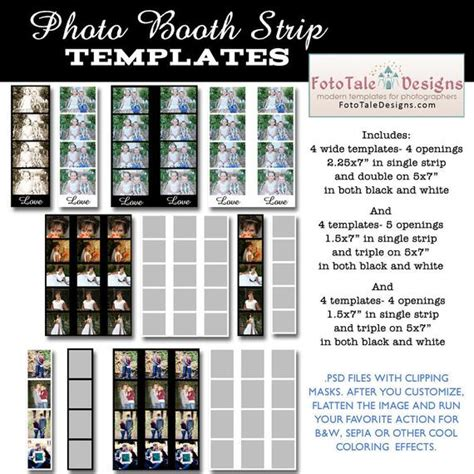 Instant Download Photo Booth Strip Template Set Set Of 12 Free Photo Booth Template Photoshop