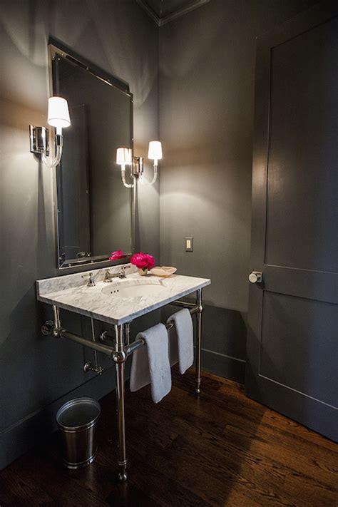 gray powder rooms transitional bathroom hallie