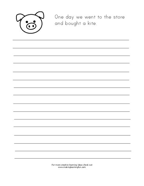 pig writing paper learning printables for