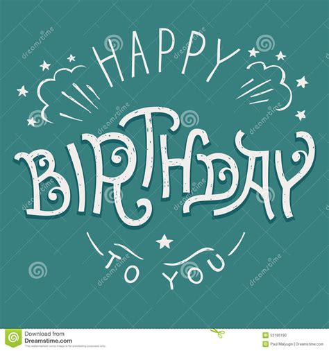 happy birthday lettering design happy birthday to you hand lettering stock vector image