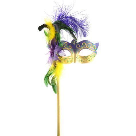 how to make mardi gras mardi gras feather flower stick mask 22960