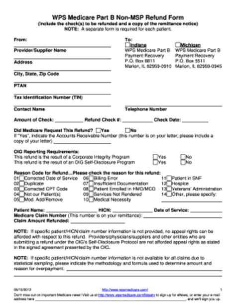 medicare part b non msp refund form fill online