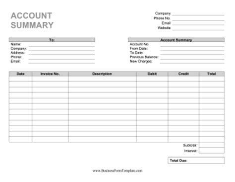 Account Statement Template Statement Of Account Template
