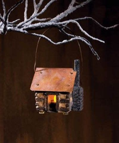 lighted log cabin ornament from country craft house