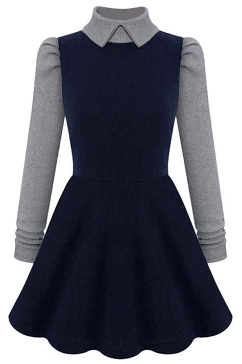 A Line Knit Dress paneled sleeves a line knit dress oasap